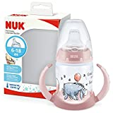NUK First Choice+ Trinklernflasche | 6–18 Monate | 150 ml | Temperature Control Anzeige | Anti-KoliK-Ventil | auslaufsichere Trinkschnabel | Ergonomische Griffe | BPA-frei | Disney Winnie Puuh (rosa)